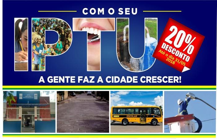 Prefeitura concede desconto de 20% no IPTU  em cota única