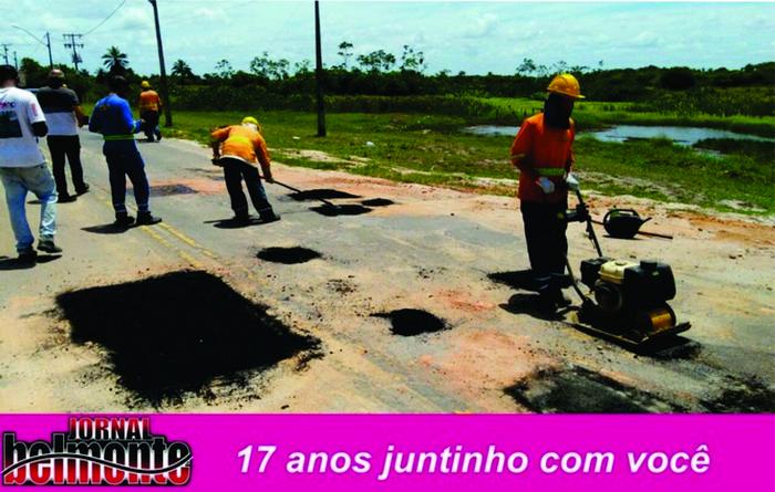 """Prefeitura de Belmonte realiza operação """"Tapa buracos"""" em rodovia estadual que liga Belmonte a Cabrália"""
