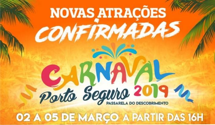 Carnaval de Porto Seguro: mais três atrações são divulgadas para o evento