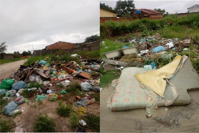Moradores colocam lixo e entulhos na rua fora do dia e do horário da coleta