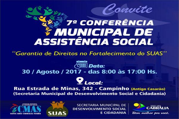 7ª Conferência Municipal de Assistência Social acontece dia 30/8 em Cabrália
