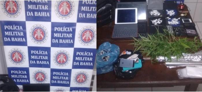Polícia Militar desarticula ponto de drogas que funcionava no centro de Santa Cruz Cabrália.