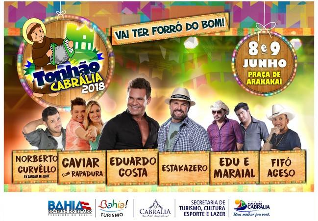 Prefeitura de Cabrália Lança Oficialmente Tonhão 2018; Confira a programação