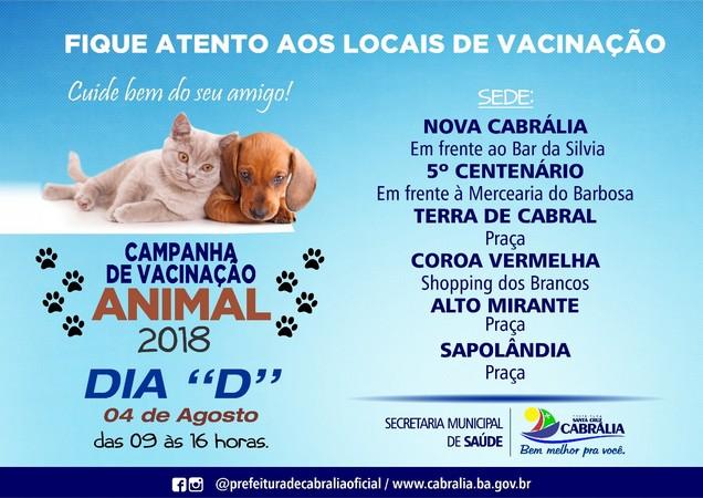 Dia D da Campanha de Vacinação contra Raiva Animal ocorre neste sábado