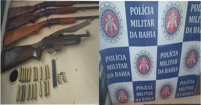PM apreende armas usadas por bandidos para cometer crimes na cidade de Santa Cruz Cabrália.